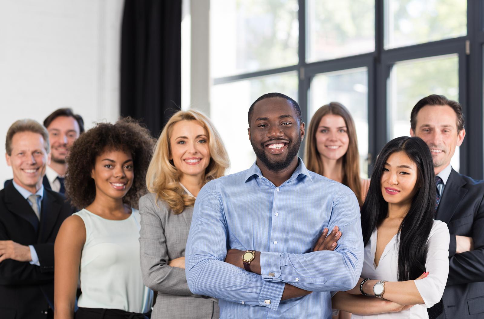 Corporate team of divrse professionals