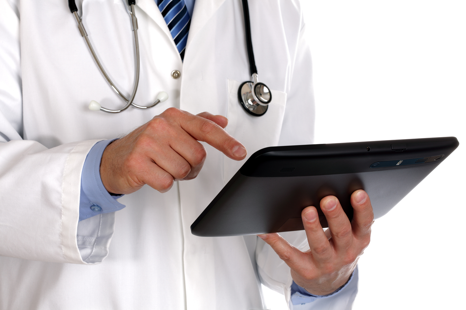 Doctor using a digital tablet on white background