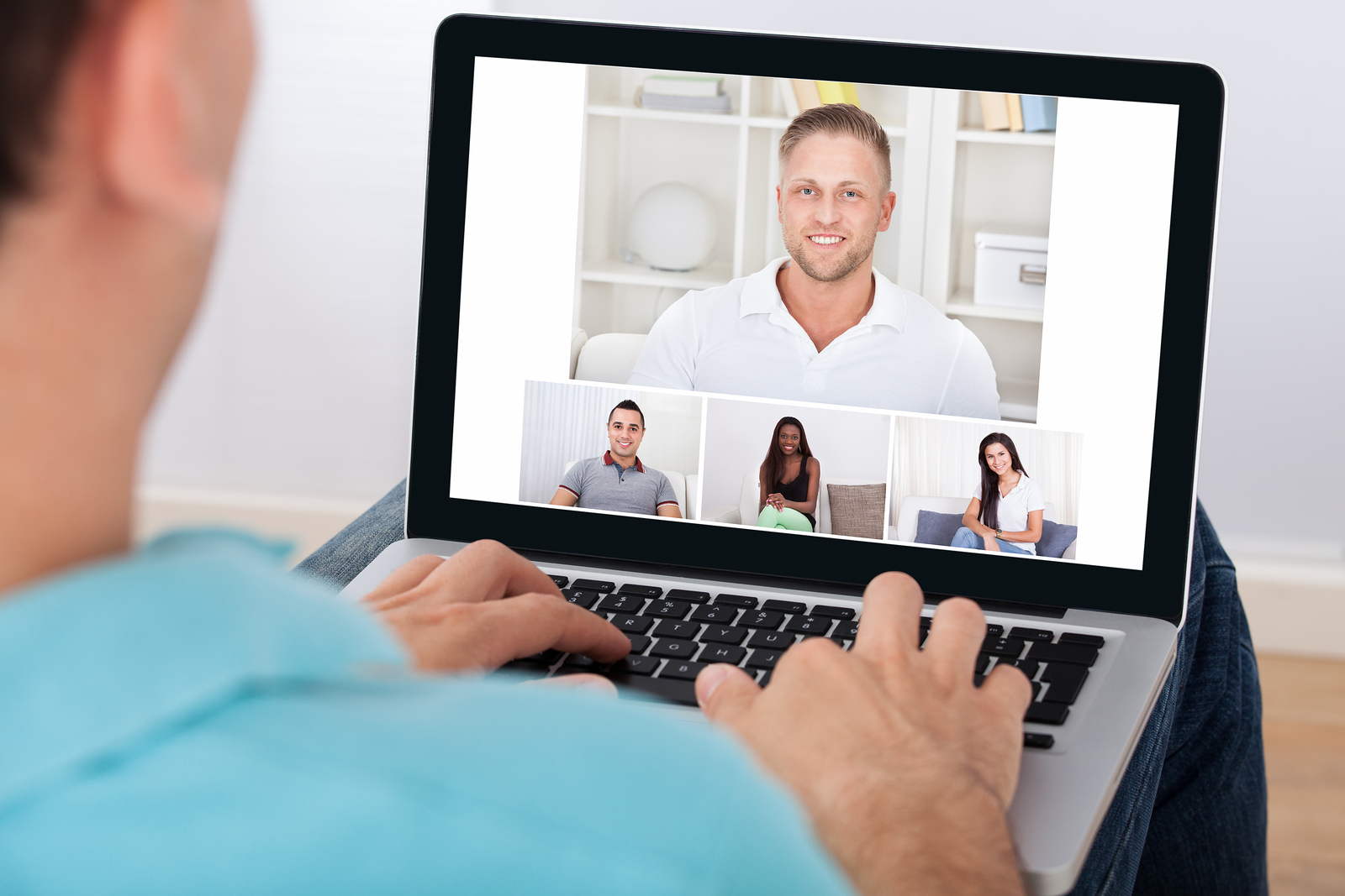 Man Having Video Conference With Counselor